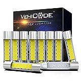 VehiCode 28mm 29mm LED Fuse 6614F 6612F 6615F TS-14V1CP LED Festoon Bulbs Kit 6 SMD-2835 Chips 6000K White for 12V Car Interior Sun Visor Vanity Mirror Dome Light Lamp Replacement (10 Pack)