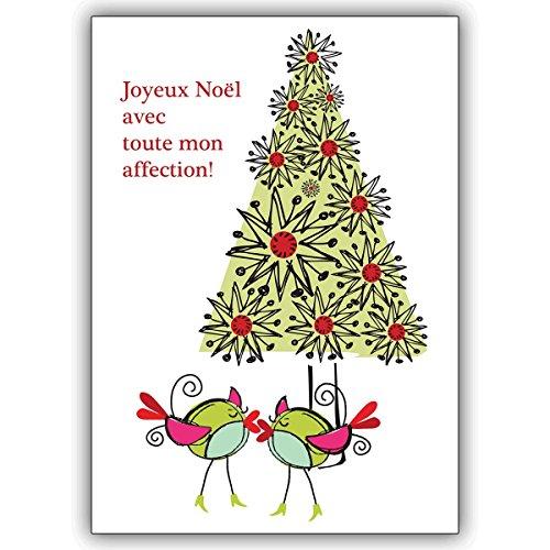 Wenskaarten met hoeveelheidskorting: Franse ontwerper kerstkaart met verliefde vogels voor de kerstboom • als persoonlijke kerstgroet met envelop voor Nieuwjaar, oudejaar voor familie en bedrijf 16 Grußkarten