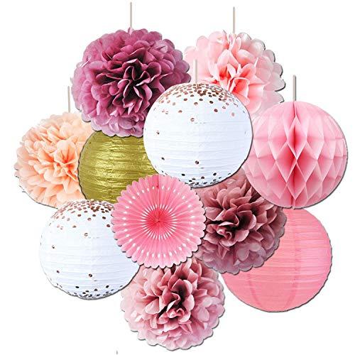 Rose Pink Tissue Pom Poms Rose Gold Papierlaternen Gold Glitter Papier Blumenparty für Hochzeit Valentinstag Brautdusche Babyparty Geburtstagsfeier Dekorationen