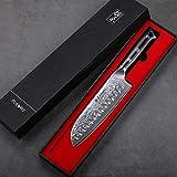 TURWHO Santoku Messer Damast,extra Scharfes Klingenblattö 18cm aus Profi Küchenmesser Damastmesser,Japanisches kochmesser, Japanisches VG-10 & ergonomischer G10 Griff - 7