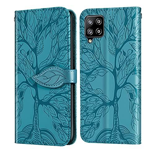 Keikail Samsung Galaxy A12 Funda,Funda Samsung A12 Libro con Cierre Magnético Tarjetero y Suporte Cuero Premium Fundas, Flip Folio Phone Cover Case, PU TPU Protección, Azul