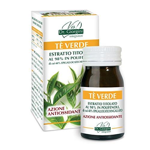 Dr. Giorgini Integratore Alimentare, Monocomponenti Erbe Tè Verde Estratto Titolato al 98% in Polifenoli, di Cui 40% Epigallocatechingallato Pastiglie - 30 g