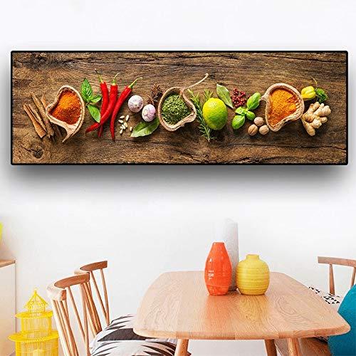 Cereal Spice Spoon Pepper Canvas Painting Navia Poster y Grabado Mural Comida Cocina Imagen Habitación-Sin marco40x120cm