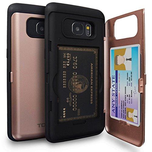 TORU CX Pro Funda Galaxy S7 Edge Carcasa Cartera Rosa con Tarjetero Oculto y Espejo para Samsung Galaxy S7 Edge - Oro Rosa