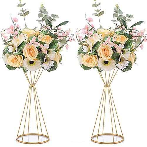 Nuptio 2 Stücke Metall Blume Trompete 50cm Höhe Vase Hochzeit Herzstück Vase Tischdekoration für Hochzeitstag Zeremonie Party Geburtstag Event Gang Dekoration