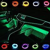 Kmruazre El Wire Car Lights 5M/16FT Led Neon Light Strip Couleurs: bleu, vert, rouge, rose, blanc, jaune, violet, vert fluorescent, bleu glace (Vert)