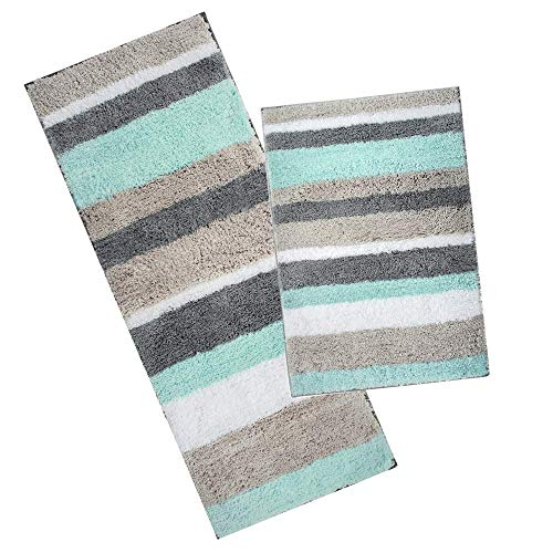 Pauwer Microfibra Bagno tappetini Antiscivolo Lavabile Tappeto Bagno, Microfibra, Verde, 45 * 65cm+45 * 120cm