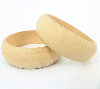 HOMYL 6pcs Women's Jewelry Wood Bracelet Wooden Bangle Large Unfinished Natural Handemade Craft Supplies 7cm