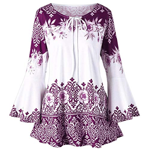 Fashion Womens Plus Size Printed Flare Sleeve Tops Blouses Keyhole T-Shirts Color...