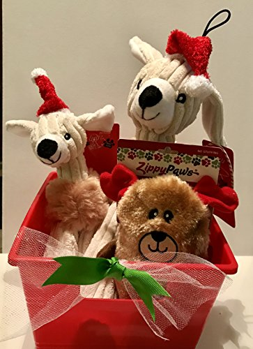 HeyZeus Designs Paws 3 Piece Holiday Squeaky Reindeer Toy Bundle