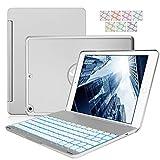 Jctek, Funda para teclado compatible con iPad Mini 5 2019, aleación de aluminio, teclado inalámbrico con retroiluminación de 7 colores, función de encendido y apagado automático, color plateado