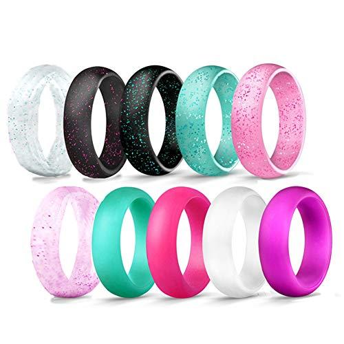 JewelryWe Schmuck 10 PCS Silikon Ehering für Männer und Frauen, 5.7mm Gummi Hochzeit Bands Gummibänder Ring für Sport Outdoor Fitness, 10 Farben mit Glitzer Set, Größe 62