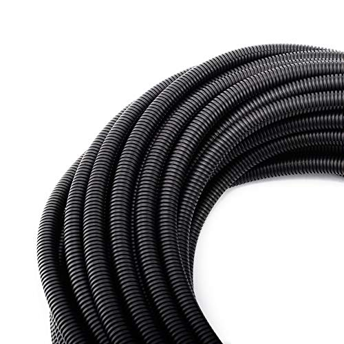 "50FT 3/8"" Wire Loom Split Tubing Auto Wire Conduit Flexible Cover"