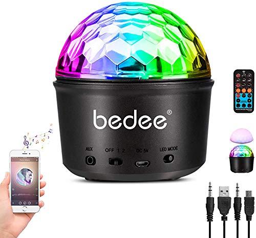 Luces Discoteca Giratoria,bedee Bola Disco Recargable 9 Colores Lámpara Disco Bluetooth, Bola Luces Discotecade Controlada Por Control Remoto, Luz Nocturna Infantil de 7 Colores