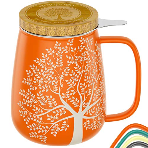 amapodo Teetasse mit Deckel und Sieb 650ml Porzellan Tasse groß, XXL Tassen Set plastikfrei Orange losen Tee