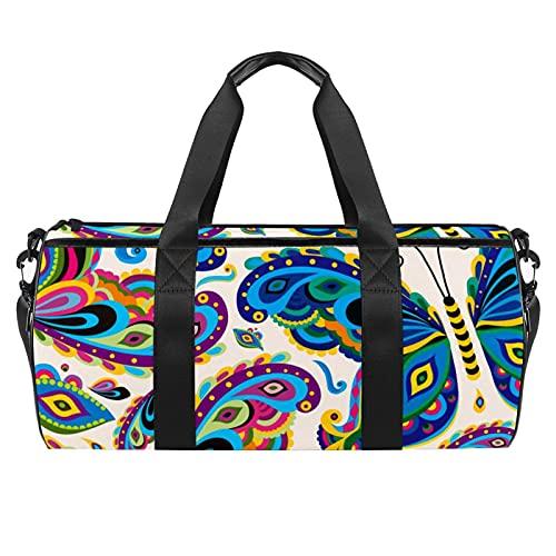 Colorido mariposa insecto patrón gimnasio bolsa para hombres y mujeres bolsas de fin de semana deportes viaje bolsa de lona con bolsillo impermeable
