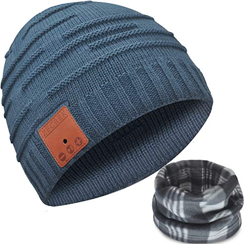 Bluetooth Beanie Hat Headphones Caps Novelty Headwear Gifts for Men/Dad/Women (Blue)