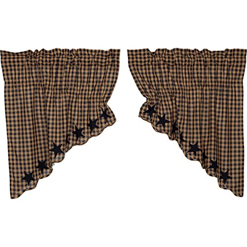 VHC Brands Navy Star Scalloped Prairie Swag Set of 2 36x36x18 Country Curtains, Navy and Tan