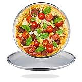 TeamFar - Juego de 2 bandejas para pizza de acero inoxidable, bandeja redonda para pizza, bandeja para horno de pizza para servir, saludable y duradera, multiusos y apta para lavavajillas, 26 cm