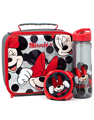 Disney Minnie Mouse Lunch Box 3 Piece Set for Kids   Red Glitter Insulated Packed Food Bag, Water Bottle & Snack Pot for School   Girls Character Merchandise