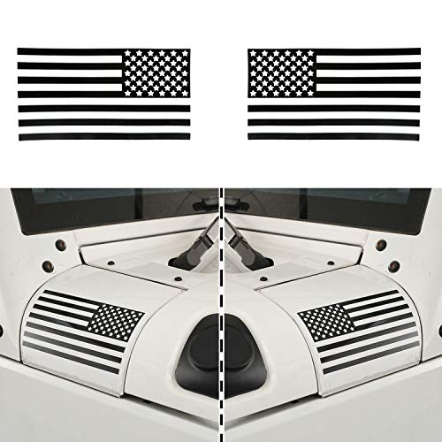 Hooke Road American Flag Stickers, Cowl Body Armor Decals for Car Pickup Truck Ford Jeep Wrangler YJ TJ JK JL Unlimited (Pair of Left&Right)