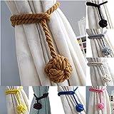 HoHnH Coffee 2 Curtain Tiebacks- Handmade Natural Cotton Rope Curtain Tieback, Rural Decorative Curtain Holdbacks (2, Coffee)