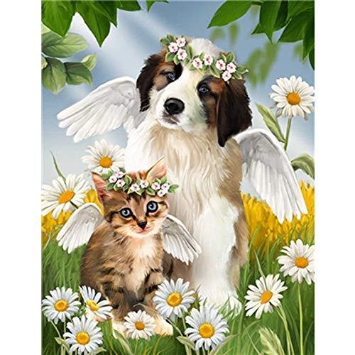 baodanla Rahmenloses Ölgemälde Full Round Lovely Dogs Ng Kit Sticker Startseite D40x60cm