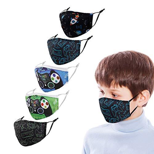 Woplagyreat Kids Childs Face Cloth Mask Reusable Masks Washable for Kids Size Funny Children's Toddler Best Cloth Facemask Boys Girls 5Pcs