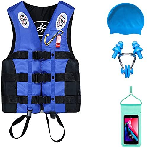 LIUZKH Chaleco salvavidas flotador, chaleco de natación para niños y adultos, chaleco de ayuda para pesca, surf, buceo, rafting, kayaking, paquete de deportes acuáticos de cortesía (XL, azul)