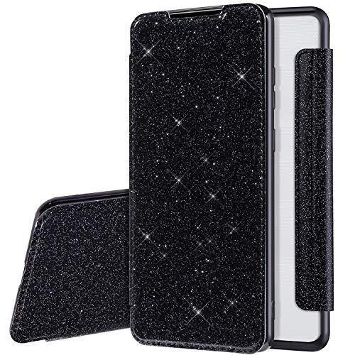 Glitzer Hülle für Samsung Galaxy A21S Hülle Ledertasche,Galaxy A21S Lederhülle Handyhülle Wallet Brieftasche Flip Tasche Schutzhülle,Bling Glänzend Flip Hülle Handy Tasche Hülle Cover,Schwarz