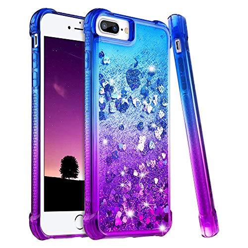 wlooo iPhone 8 Plus Hülle Glitzer, Handyhülle iPhone 7 Plus, Flüssig Treibsand Glitter Gradient Quicksand Weich TPU Bumper Silikon Schutzhülle für iPhone 6 Plus/6s Plus/7 Plus/8 Plus (Blau Violett)