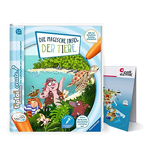 Ravensburger tiptoi ® Create Buch   Die magische Insel der Tiere + Kinder Weltkarte - für Kinder ab 6 Jahre