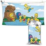 TUCBOA Toallas De Playa,Cartoon The Simpsons Toallas De SPA De Secado Rápido, Lindas Y Divertidas Toallas De Baño para Deportes Atléticos,70x140cm