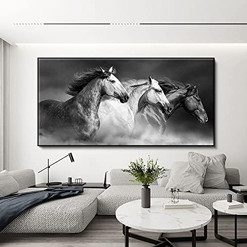 Moderno blanco y negro caballo corriendo fuerte corcel animal lienzo pintura pared arte cartel HD impresiones dormitorio sala de estar oficina estudio decoración del hogar mural