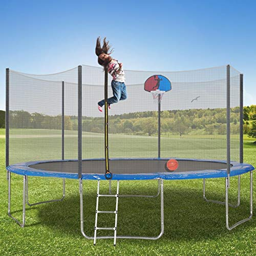 Trampoline 15FT Jumping-Bed with Enclosure Net, Basketball Recreational Trampolines Jump-Dunk for Kids Adult Bounce Outdoor, Backyard Safety Sports with Mat Spring Pads Steady-Ladder Hoop (Upgraded)