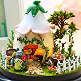 Poxl Casa de muñecas de madera, casa de muñecas para niños, con muebles y familia, para niños (jardín)