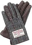 ハリスツイード手袋 HARRIS TWEED レディース レザー AY-15AWGL-001 (グレー x ダークブラウン)