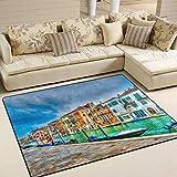 JINCAII Hermosa vista Canal Venecia Italia Hdr Alfombra antideslizante super suave piso alfombra para el piso del hogar, dormitorio de los niños, sofá, sala de estar, dormitorio, decoración