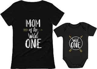 Wild One Mom & Baby 1st Birthday Baby Bodysuit & Women's T-Shirt Matching Set