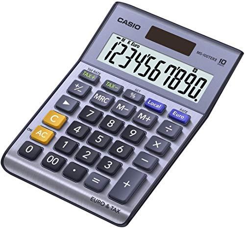 CASIO Tischrechner MS-100TERII, 10-stellig, Steuerberechnung, Währungsumrechnung, Aluminiumfront, Solar-/Batteriebetrieb