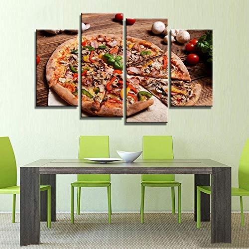 ANTAIBM® Kinderzimmer Schlafzimmer dekorative 4 Malerei Holzrahmen - verschiedene Größen - verschiedene Stile4 Stück Küche Essen Pizza Mit Buntem Gemüse Wandkunst Malen Der Bilddruck Auf Leinwand Esse