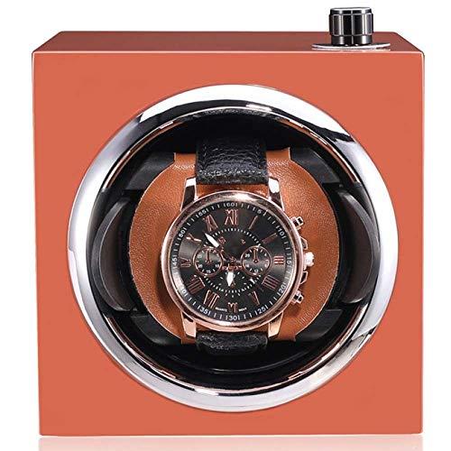 PORU automatische horlogebeweger geheime kist uit automatische horlogebeweging box, horlogedoos, horlogedoos, horlogebeweger, capaciteit: 1 x automatisch horloge, stil, kijkvenster oranje