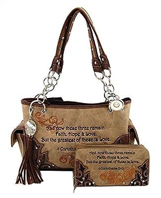 Cowgirl Trendy Western Bible Verse Purse Wallet Set, Corinthians 13:13 (Brown)