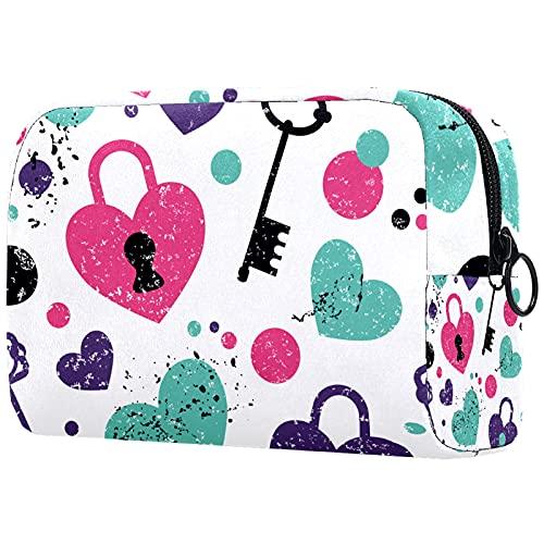 Love Lock and Key Pattern Cosmetic Bag-Travel Aseo Bolsas de cosméticos para Mujeres Cremallera Estuche de Maquillaje Monedero Estuche Organizador de cosméticos