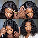 LUMIERE Hair Short Body Wave Bob Wig Lace Front Human Hair Wigs for Black Women 8 inch 150% Density Natural Black 13X4 Lace Wig with Baby Hair Pre Plucked Natural Hairline