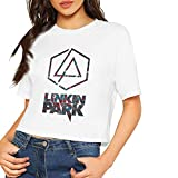 after Design Custom Linkin-Park Logos Printing Crop Top Summer Short-Sleeve T-Shirt for Women's Camisetas y Tops(Small)