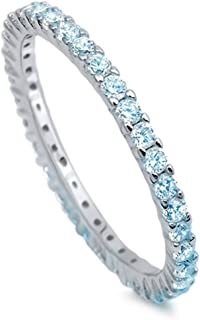 Blue Apple Co. 2mm Full Eternity Stackable Wedding Ring Round Simulated Aquamarine Cubic Zirconia 925 Sterling Silver