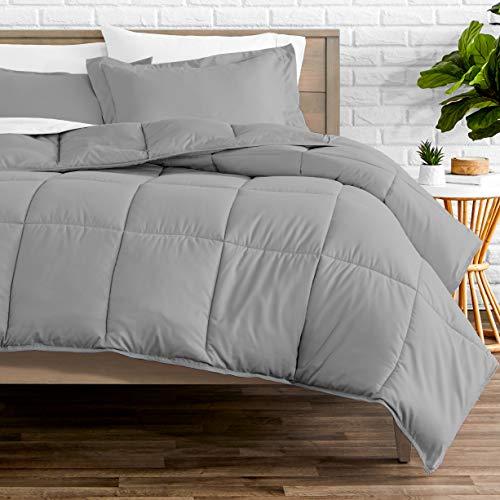 Bare Home Comforter Set - Queen Size - Goose Down Alternative - Ultra-Soft - Premium 1800 Series - Hypoallergenic - All Season Breathable Warmth (Queen, Light Grey)