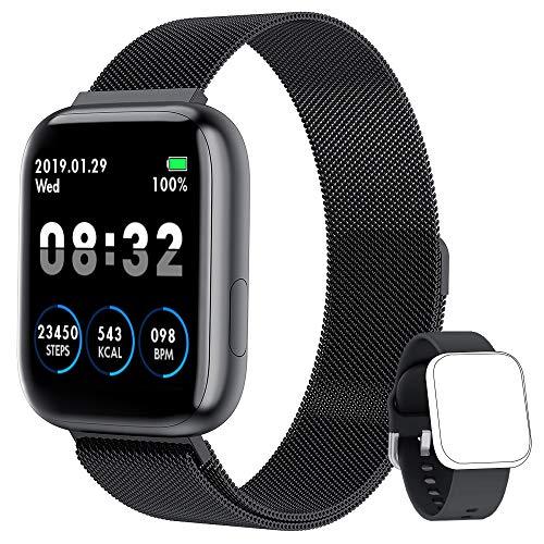 NAIXUES Smartwatch Orologio Fitness Sportivo Donna Uomo Impermeabile Smartband Cardiofrequenzimetro Contapassi da Polso Monitor Pressione Sanguigna Activity Tracker Per Android IOS (Nero)