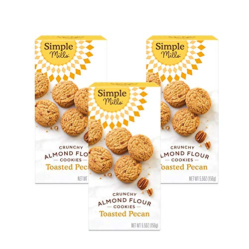 Simple Mills Almond Flour Toasted Pecan Cookies, Gluten Free and Delicious Crunchy Cookies, Organic Coconut Oil, Good for Snacks, Made with whole foods, 3 Count (Packaging May Vary)